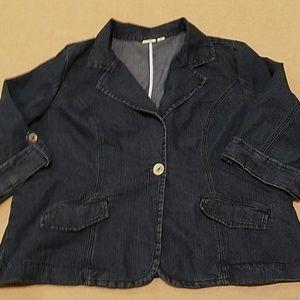 Cato denim blazer 3/4 sleeve w/stretch size 22/24W